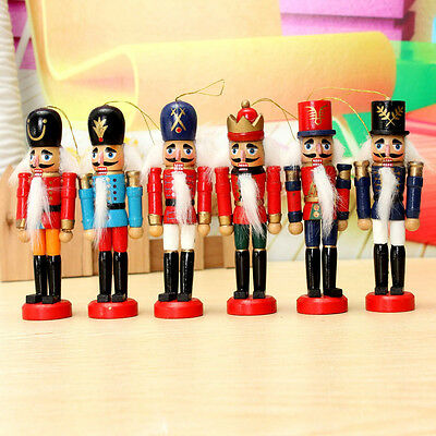 "6pcs 5"" Wooden Nutcracker Soldier Handcraft Gifts Walnut Puppet Toy Home Decor"