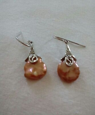 Peach pearl and silver earrings