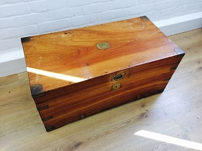 Antique 20th Century Camphor Wood and Brass bound trunk chest coffee table