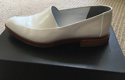 Alexander Wang White Leather Loafers Flat Slip On Shoes