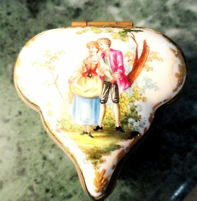 Dresden Germany RW Trinket Box Handpainted Hinged Antique Porcelain Exquisite