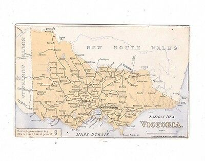 Australia VICTORIA Postcard, MAP of VICTORIA