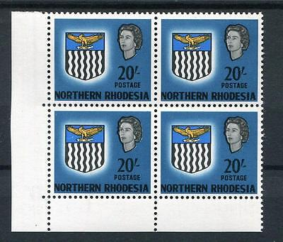 Northern Rhodesia 1963 Arms 20s blue in MNH corner block SG88