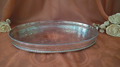 """Barrington Plate Silver Plate On Copper Sheffield Oval Gallery Serving Tray 13"""""""