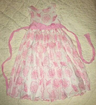 ORIGAMI Pink White Flower Girl Dress Size 7 As New
