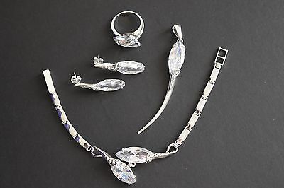 925 Sterling Silver Cubic Zirconia Ring, Earrings, Bracelet and Pendant Set.