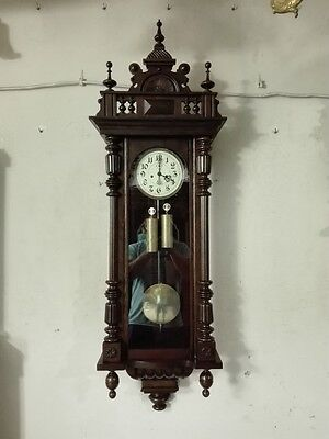 Large Antique 2 weight walnut Gustav Becker Vienna Wall Clock