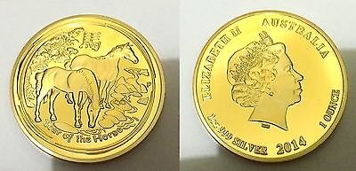 2014 Year Of the Horse Finished in 999 24k Gold coin Medallion
