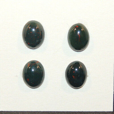 Bloodstone Cabochons 8x10mm with 4mm dome from India set of 4 (12500)