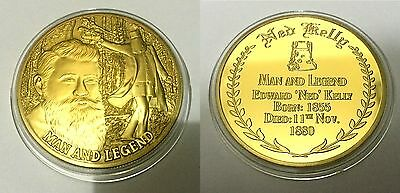 NED KELLY - MAN AND LEGEND Finished in 999 24k Gold coin Medallion