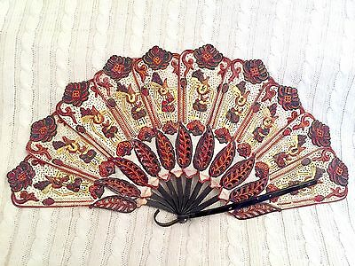 Balinese Handmade Hand Fan made of Leather and Buffalo Horn