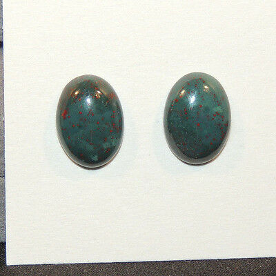 Bloodstone Cabochons 10x14mm with 4.5mm dome from India set of 2 (12500)