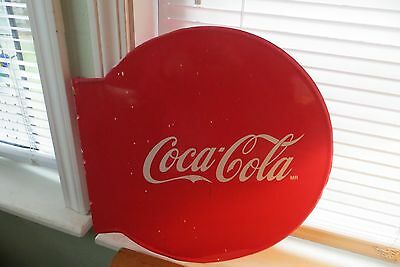 Old metal Coca Cola MR advertising flange sign, soda, beverage, red button