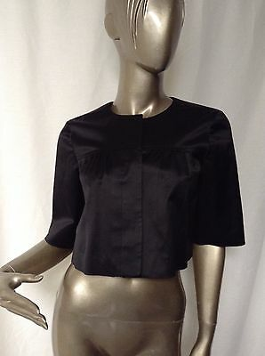 Theory for Bergdorf Goodman Black Cropped Evening Jacket Blazer Shrug S