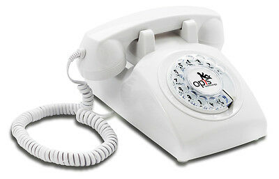 Opis 60s cable corded retro/vintage rotary-dial desk telephone/phone in white