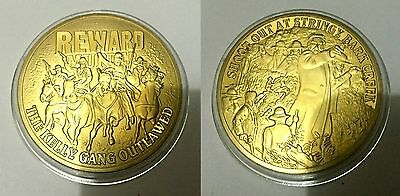 REWARD - The Ned Kelly Gang Outlawed Finished in 999 24k Gold coin Medallion