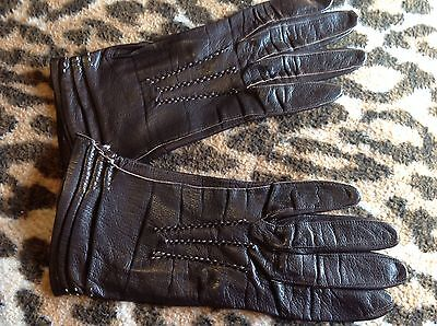 ladies vintage Brown Stitched Leather  gloves Xs