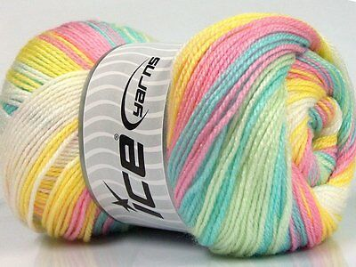 Lot of 4 x 100gr Skeins Ice Yarns MAGIC BABY Knitting Wool Baby Colors