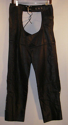 NEW FMC Black LEATHER Motorcycle CHAPS Women's Sz XS NWOT