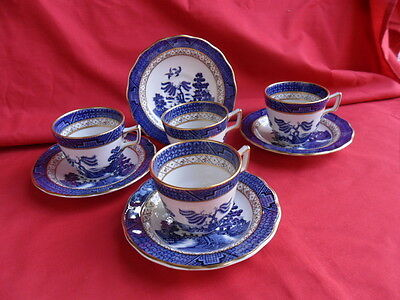 Royal Doulton Booths Real Old Willow, 4 x Coffee Cups & Saucers