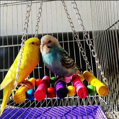 Colorful Parrot Parakeet Budgie Bird Cage Hammock Swing Hanging Playing Toys