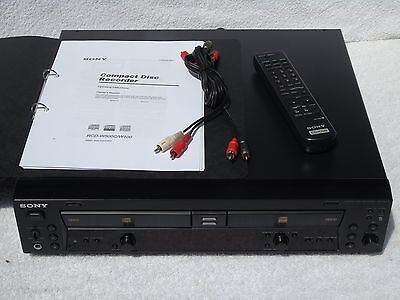 Sony RCD-W100 Twin Deck CD Player + CD Recorder, Rewriter + Remote & Manual Etc
