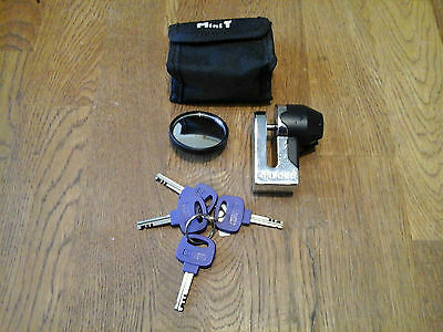 Quality Oxford Mini-T Motorcycle Brake Disk Lock With Keys And Case.