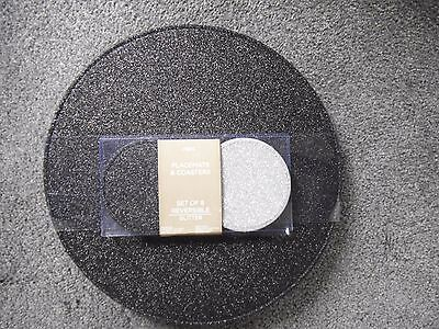 Next Set Of 8 Reversible Black & Silver Glitter Placemats & Coasters Brand New