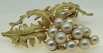 Vintage 18ct gold mikimoto style pearl brooch.