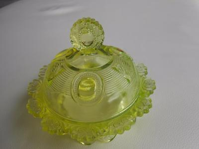 Antique 1898 DEWEY by Indiana  VASELINE GLASS Dome Covered Footed Dish EAPG