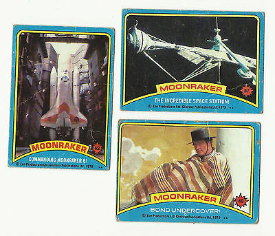 James Bond Moonraker Trading Cards – 1979 - Lot Of Three 3 – Roger Moore