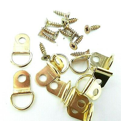 Brassed Small D Rings Picture Frame Hangers Canvas Hooks With Screws Top Quality
