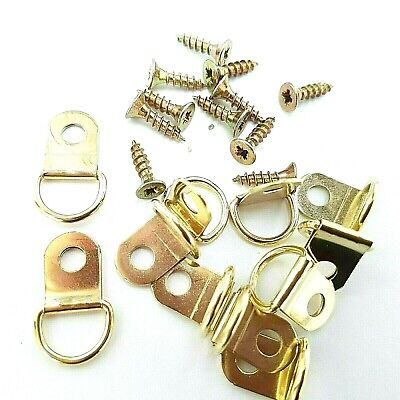 Small D Rings Picture Frame Hangers Canvas Brassed Hooks With Screws Top Quality