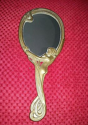 Antique. Art noveau style hand mirror. Solid Brass. Elegant Nude Lady design.