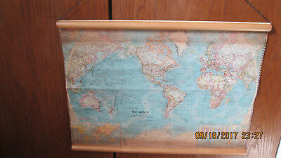 1960 Cloth/paper World Map Dowel Mounted