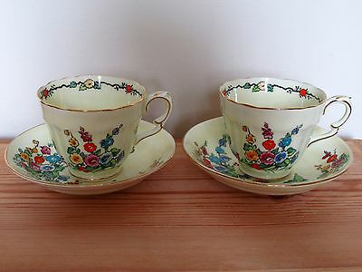 Two Vintage Crown Staffordshire Hollyhock Floral Teacup And Saucer Duos