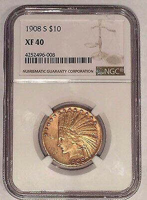 1908-S $10 NGC XF40 Indian Eagle Gold Coin: From The San Francisco Mint