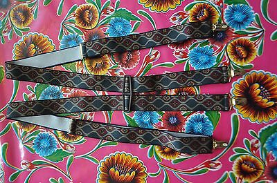 Vintage grey diamond patterned braces suspenders with gold clip fastening