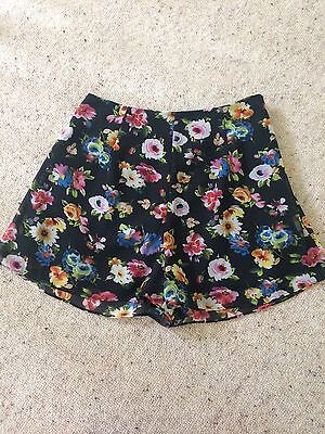 Black Floral Culottes High Waisted Shorts Size 8