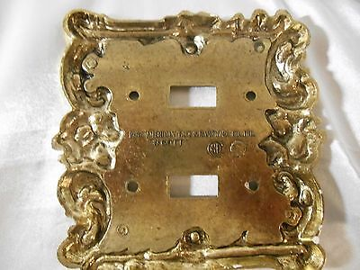 Vintage Brass Floral Switch Cover American TacK &Hardware Double 1967 60TT