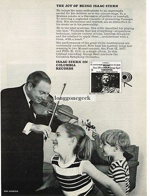 1964 Isaac Stern on Columbia Records Violinist Plays For Children Vtg Print Ad