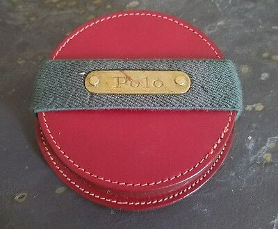 Vintage Ralph Lauren Red Leather Polo 4 Coasters Set Made in USA VTG