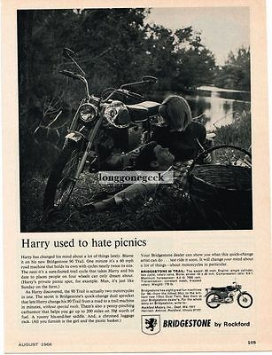 1966 Bridgestone 90 Trail Motorcycle Harry Used To Hate Picnics Vtg Print Ad