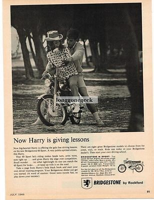 1966 Bridgestone 60 Sport Motorcycle Harry Giving Driving Lessons Vtg Print Ad