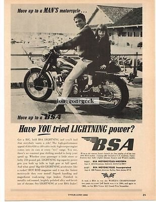 1966 BSA 650cc Lightning Motorcycle Have You Tried It Vtg Print Ad