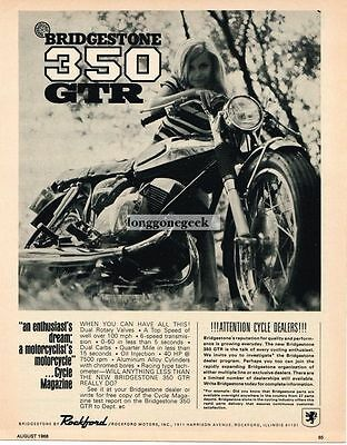 1968 Bridgestone 350 GTR Motorcycle girl wearing striped shirt Vtg Print Ad