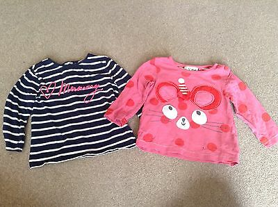NEXT Baby Girl's Tops x2 Pink Blue 6-9 Months VGC