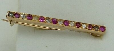 Vintage 18ct gold ruby and rose diamond brooch stock pin.