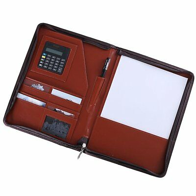 Conference Folder Zipped PU Leather Portfolio Organiser with Calculator Planner