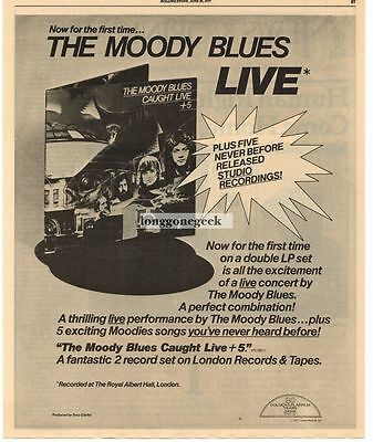 1977 The Moody Blues Caught Live + Five Vtg Album Promo Print Ad full page